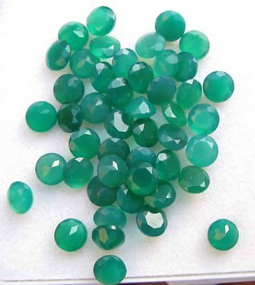 20.10Ct Natural Indian Green Onyx AA Quality Faceted Round Shape Loose gemstones