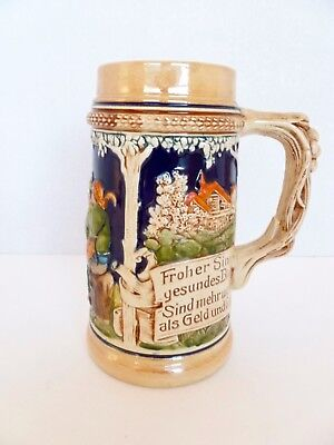 Vintage German Beer Stein - Various Painted Scenes  - See Description & Images