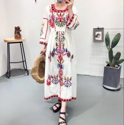 Vintage Ethnic Embroidery Mexican Boho Maxi Tunic Retro Dress Loose Casual Zsell