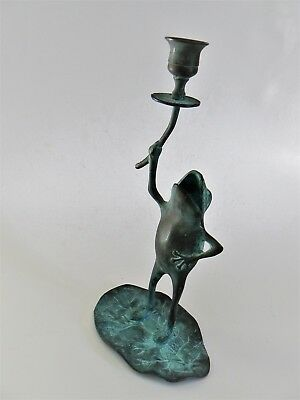 Verdigris Frog Candle Holder, Brass Frog on Lily Pad Candleholder