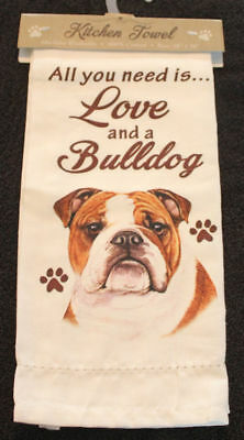 Bulldog Dog Breed Cotton Kitchen Dish Towel