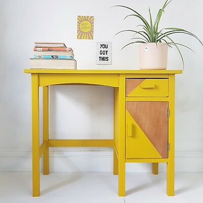 Retro 1950s 1960s Vintage Childrens UPCYCLED Kids Yellow Geometric DESK