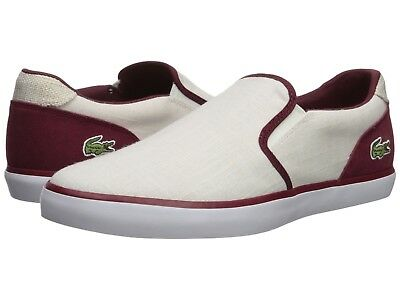 65b4d5284 Lacoste Men s Jouer Slip-On 218 1 Sneakers Canvas   Leather Shoes White  Dark Red