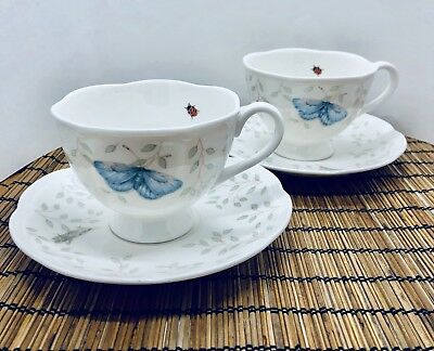 Lenox China Tea Cup & Saucer Butterfly Meadow by Louise Le Luyer Set Of 2