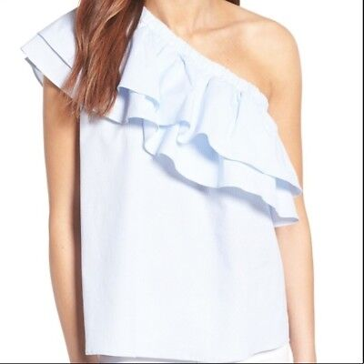SOCIALITE Nordstrom Blue Floral Blouse Top One-Shoulder Ruffle M L XL *NWT*