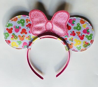 Custom minnie Mouse Fruits Ears Headband with glitter bow disney mouse ears