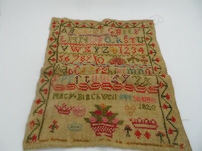 Superb Georgian Sampler Dated 1820 MARY BLACKWELL No Reserve