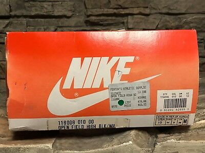 VTG OG Nike Open Field High Black Shoes Cleats Rare Display Box NOS Mens Sz 10