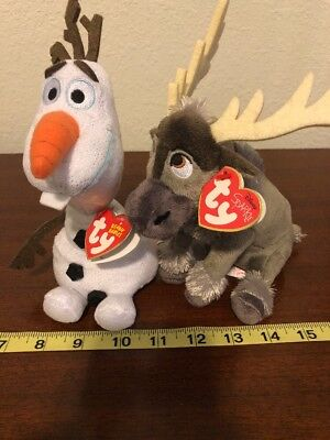 TY Beanie Babies Orginal And Disney Sparkle Sven And Olaf Snowman Elk Frozen f8671852459f
