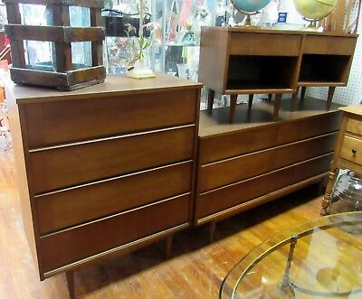 Mid Century Modern bedroom set by B. P. John Co - 2 dressers and 2 nightstands