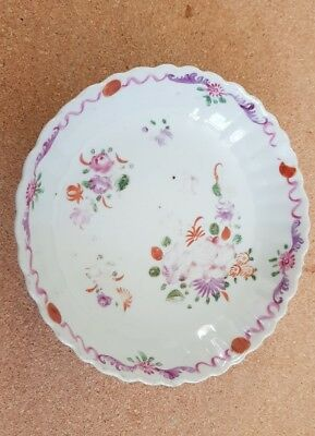 Antique Chinese hand painted Famille Rose shallow bowl or  saucer