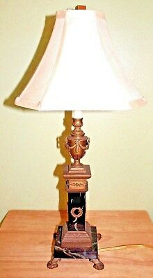 VTG Marble & Brass French Neoclassical Boudoir candlestick Table lamp - ex cond