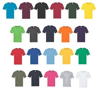 Mens 5 Pack Fruit of the Loom Original Cotton V Neck T Shirt Short Sleeves Tee