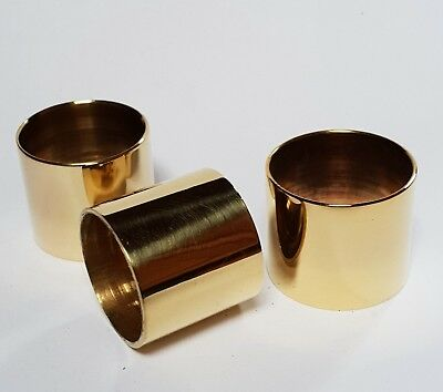3 x mixed PLAIN BRASS COLLARS for Walking Stick Making 26mm, 27mm & 30mm i/d.