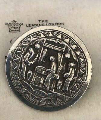 Unusual Antique Chinese Hallmarked Silver Embossed Scenic Brooch/pin