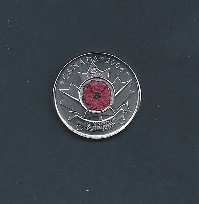 Canada Remembrance Day Red 2004 Poppy Quarter 25 Cent Fresh From RCM Roll
