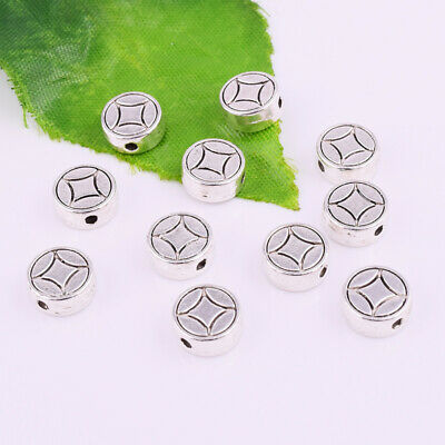 Tibetan Silver Flat Metal Charm Spacer Beads Round Jewelry Findings 8x3mm