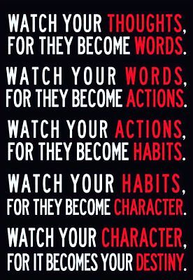154413 Watch Your Thoughts Motivation Art Decor Wall Print Poster