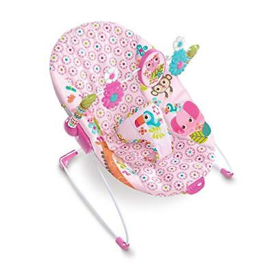 Bright Starts Jungle Blooms Baby Girl Bouncer, Cradling seat, Soothing vibration