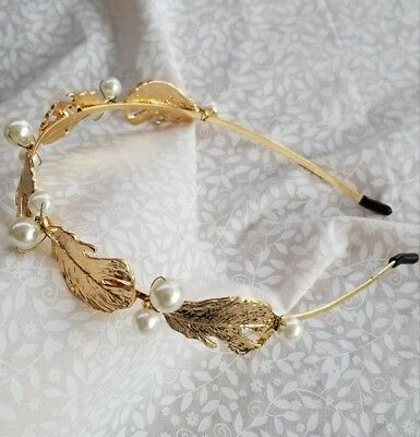 New Anthropologie BHLDN Gilded Gold Large Leaf and Pearl Headband