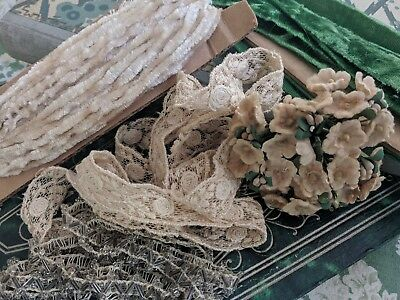 Antique Vintage LOT Lace Ribbon Glass Beaded Trim Millinery Flowers DOLLS Crafts