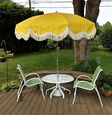 Vintage 1950 S Mid Century Patio Umbrella Clean Deck Table Outdoor Canopy Retro