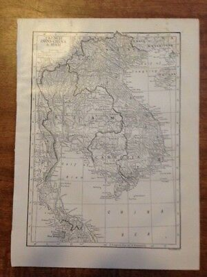 VIETNAM FRENCH INDO-CHINA & SIAM map vintage antique 1910  *RARE* FREE SHIPPING