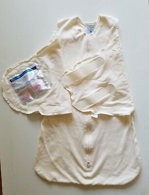 HALO SleepSack SWADDLE Cotton Ivory Embroidery Baby Boy Girl S Small 3 6 Month
