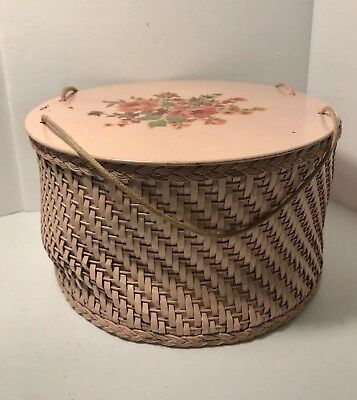 Vintage 1940's Pink Princess Wicker & Wood Sewing Basket Box with Old Buttons !!