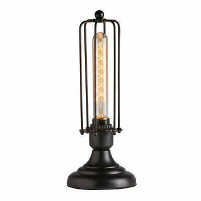 Edison Style Wire Caged Industrial Table Lamp Accent Light