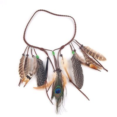 Native American Indian Feather Headband Festival Headdress Hair Accessories S7F4