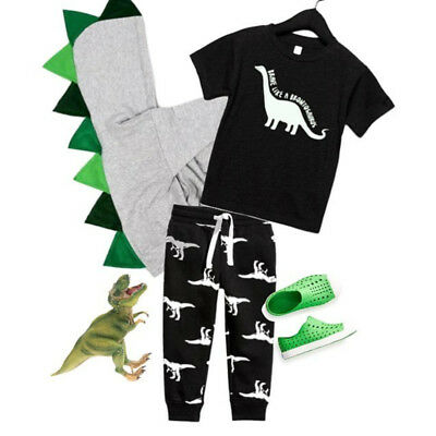 Dinosaur Toddler Kids Baby Boy Summer Tops T-shirt Cartoon Pants Legging Outfits