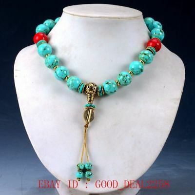 Chinese Old turquoise & Brass Handwork Decoration Necklaces RX008y