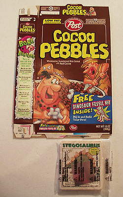 Post Cereal Box Cocoa Pebbles with Prize Dinosaur Fossil 1998