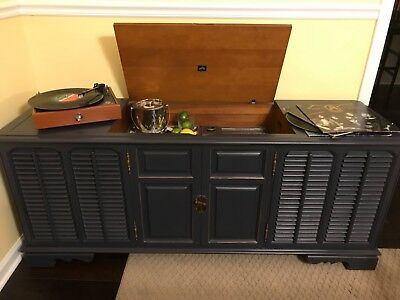 VINTAGE RECORD PLAYER Console, Refinshed and Repurposed