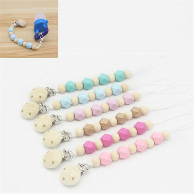 Newborn Wooden Beaded Pacifier Holder Clip NippleTeether Dummy Strap Chain Newly