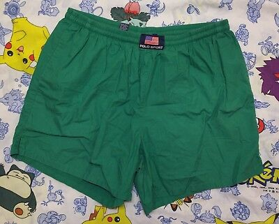 e386e28cf7 Vintage Ralph Lauren Polo Sport Flag Spell Out Swim Trunks Board Shorts  Size XL