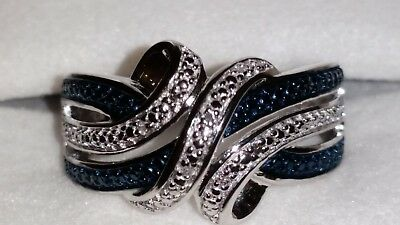 4b8be8370 *AWESOME* Kay Jewelers Sterling Silver Blue & White Diamond Weave Ring  (Size 7