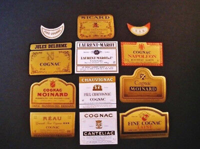 (12) Diff...Orig..Old Stock..FRENCH COGNAC Labels...Gold Foil Ones, Variety...