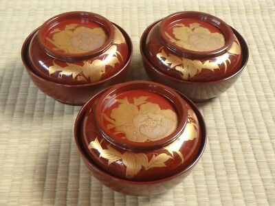 Soup Bowl Cup / Lot of 3 / Lacquerware / Wood / MEIJI / Red / Japanese Vtg 509
