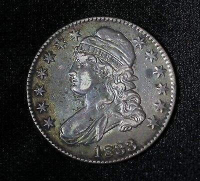 1833 50C Capped Bust Half Dollar XF / AU Toned Coin Nice Patina