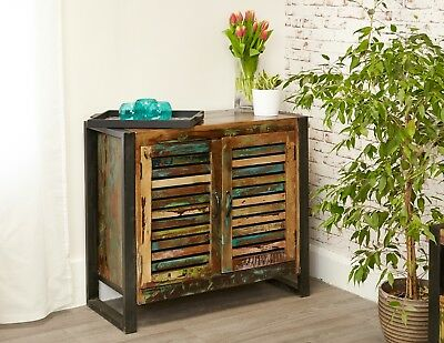 Rustic Industrial Sideboard Hand Crafted From Vintage Reclaimed Wood With Steel