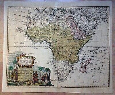 AFRICA HOMANN HRS 1737 XVIIIe CENTURY LARGE NICE ANTIQUE ENGRAVED MAP IN COLORS