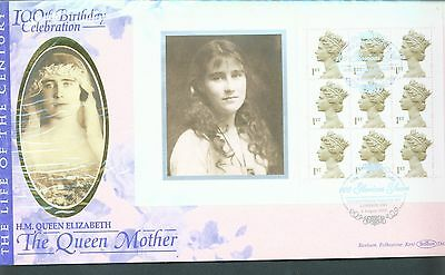 Great Britain 2000 Queen Mother P.S.Booklet pane FDC Palace Rd SW1 cancel