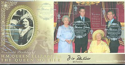 Great Britain 2000 Queen Mother min sheet FDC signed by Bill Pertwee