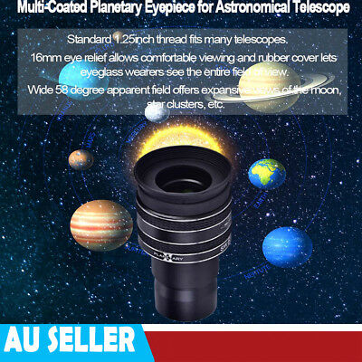 """1.25"""" 58 Degree 6mm Multi-Coated Planetary Eyepiece for Astronomical Telescope"""