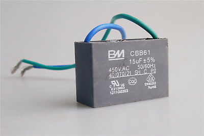 Universal Capacitor CBB61 15UF 450V AC 2 Wire Motor Ceiling Fan