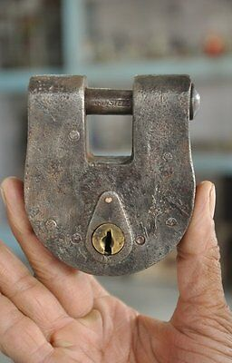 Old Iron Handcrafted Solid Heavy Unique Padlock , Rich Patina