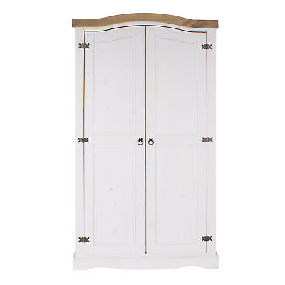 Corona White 2 Door Wardrobe With Shelving Solid Wood Washed Pine Top