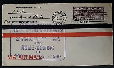 RARE 1930 United States Admiral Byrd's Flights Cover ties 5c stamp canc Boston